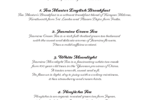 High tea set menus